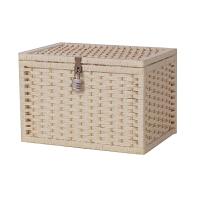 编织收纳盒带锁箱子储物箱密码锁收纳箱大号杂志箱零食盒子