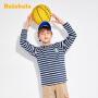 【7折价:41.93】巴拉巴拉儿童打底衫男童T恤长袖2020新款中大童纯棉条纹上衣时尚
