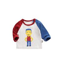 男童T恤儿童宝宝潮圆领打底衫长袖2018春秋新款童装婴儿上衣春装 白色