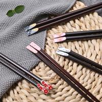 光一单双木筷子家用家庭装防滑日式筷子尖头网红筷子细头餐具ins