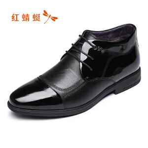 红蜻蜓皮鞋2017冬季新款男棉鞋真皮商务正装漆皮鞋保暖舒适正品鞋