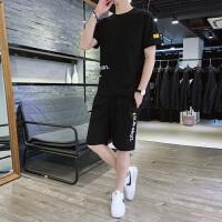 男士休闲套装韩版潮流男夏季短袖短裤搭配ins帅气冰丝套装运动服