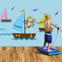 斯图牌 墙贴 客厅卧室背景大面积可移除墙贴 儿童房 卡通壁纸 墙纸 帆船ST8814