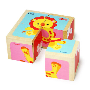 费雪FP1001木质动物立体拼图四粒六面画儿童宝宝幼儿早教益智积木玩具