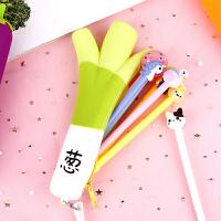 笔袋 简约创意蔬菜造型学生笔袋2020新款 超萌大容量硅胶文具笔袋