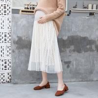 2018春孕妇半身裙新款时尚潮流蕾丝裙子半身小清新中长款托腹纱裙 均码