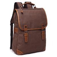 新款男女学生帆布户外双肩包电脑背包书包复古色休闲简约运动旅行包 20寸