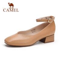 骆驼女鞋2019春夏新款优雅简约气质粗跟浅口单鞋舒适腕带中跟鞋女