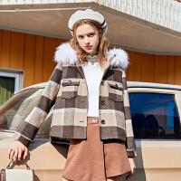 毛菇小象港味复古短款毛呢外套女加厚保暖冬季新款宽松毛领上衣