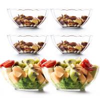【玻璃莲花碗6件套】大号水果沙拉碗透明玻璃碗汤碗米饭碗网红学生泡面创意耐热汤碗餐具