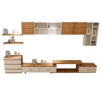 现代简约电视柜组合茶几背景墙柜伸缩客厅影视柜挂柜实木颗粒 组装