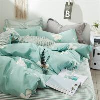 棉纯棉床上四件套床单被套简约清新ins网红被子1.5单人床三件套