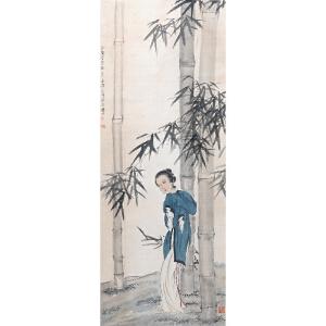 徐悲鸿(款)  竹林仕女