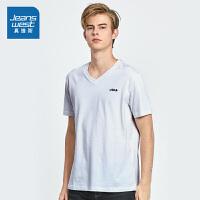 [到手价:32元]真维斯短袖T恤男夏装男装简约纯棉V领休闲体恤青年打底衫