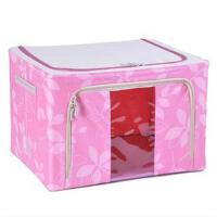 普润 80L粉色 牛津布钢架百纳箱 整理收纳箱 粉色树叶 单视 双开门