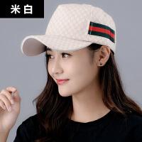 帽子女韩版时尚夏天鸭舌帽太阳帽情侣印花棒球帽户外出游遮阳帽潮网格