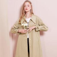 秋水伊人风衣冬装2020新款女装纯色方领单排扣中长款通勤外套女