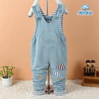 男女宝宝背带裤春秋季新款婴儿连体衣0-1岁半6-7-8个月童装可开裆
