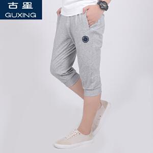 (满100减30/满279减100)古星夏季新款男士运动七分裤薄款透气个性图案青年潮小脚休闲短裤