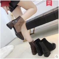 女短靴冬季新款方头裸靴女韩版百搭学生瘦瘦靴粗跟中跟网红靴