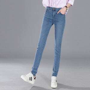 Freefeel 2018春夏季新牛仔裤女时尚修身韩版弹力显瘦小脚铅笔裤oy601