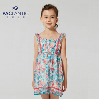 派克兰帝品牌童装 夏装女童印花沙滩吊带背心裙 儿童裙子