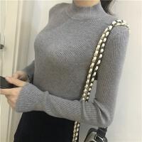 秋冬韩版糖果色弹力修身显瘦针织衫外穿网红套头打底衫毛衣上衣女 均码