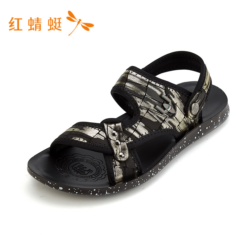红蜻蜓新款时尚百搭套扣男凉拖鞋