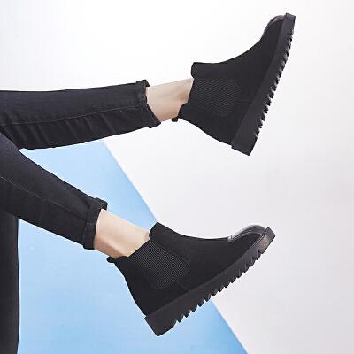 ZHR2019秋季新款切尔西靴平底马丁靴厚底单靴复古短靴百搭女靴子