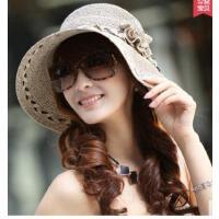 女防晒沙滩帽大沿太阳帽 韩版草帽女花朵 显瘦遮阳帽
