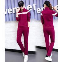春秋季韩版时尚新款时尚潮运动套装女款简约卫衣运动休闲装运动服两件套