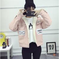 新款青少年装外套厚款夹克12-13-14-15-16岁女孩初中学生大童潮 粉红色