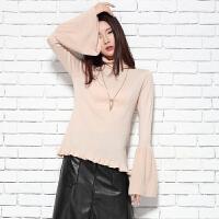 2018春季新款女士纯山羊绒衫堆领休闲短款长袖针织毛衣喇叭袖