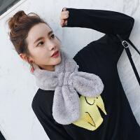 时尚韩版仿毛毛绒獭兔毛围巾男女冬季韩国学生毛领子围脖套头百搭交叉