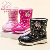 富罗迷女童靴子加绒儿童棉靴防水新款冬季雪地鞋保暖冬靴童鞋短靴