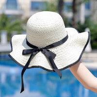 女士百搭出游度假帽子 大沿太阳帽沙滩帽帽子女 韩版潮海边草帽防晒帽女遮阳帽