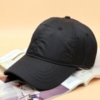 2018新款帽子男新款秋季涤纶速干棒球帽光面时尚休闲鸭舌帽女潮可调节 黑色 可调节