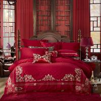 LOVO家纺 婚庆刺绣提花六件套 床单被套 幸福相守