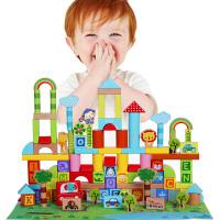 fisher price费雪牌木制积木玩具 2-3-6周岁儿童益智 男女孩宝宝数字字母动物认知启蒙玩具积木桶装100大