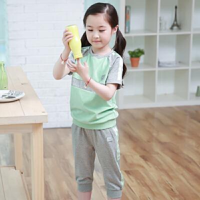 女童运动套装2018夏装新款 中大童儿童小学生纯棉休闲两件套女夏 发货周期:一般在付款后2-90天左右发货,具体发货时间请以与客服协商的时间为准