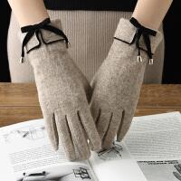 手套女士秋冬季保暖羊毛可爱学生冬天加绒加厚骑行开车触摸屏手套 均码