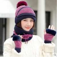帽子围脖一体女保暖加绒毛线帽加厚户外电瓶车防风休闲针织帽