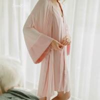 巴士粉嫩嫩性感内衣甜美浴袍舒适柔软睡袍女春 粉红色 均码