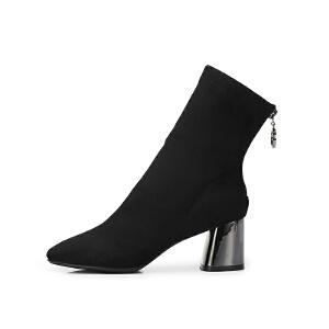 骆驼女鞋2018冬季新款优雅气质方头拉链粗跟靴弹力靴高筒靴女靴子