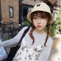 女士帽子 盆帽 遮阳帽 韩国潮贴布遮阳帽韩版可爱女生户外休闲草编盆帽
