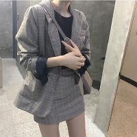 韩国CHIC英伦风 秋冬款复古洋气格子西装外套+高腰短裙两件套装女