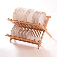 家逸 厨房沥水碗架餐具收纳放碟架折叠置物架2层 盘子收纳架