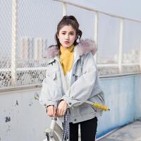 冬季新款韩版BF风宽松加厚加绒毛领棉衣羊羔毛牛仔外套女学生
