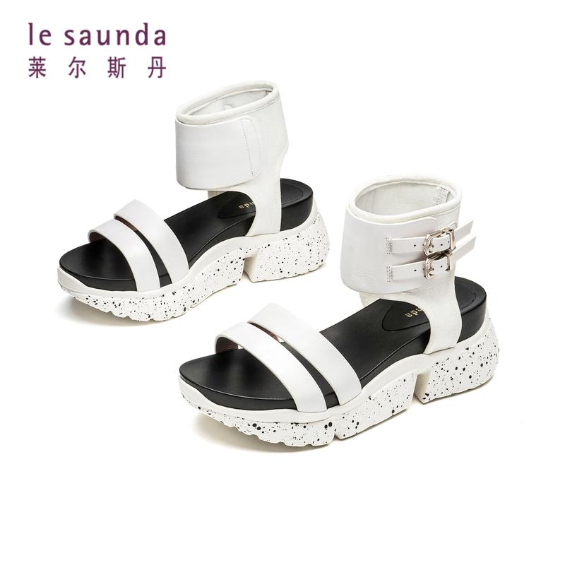 莱尔斯丹 夏季新品商场同款一字带运动绑带女凉鞋AM70002 一字带运动绑带女凉鞋