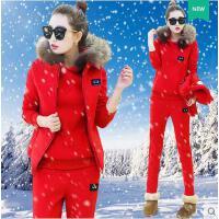 女三件套 大码三件套 修身三件套 韩版休闲套装女加绒加厚卫衣时尚运动三件套